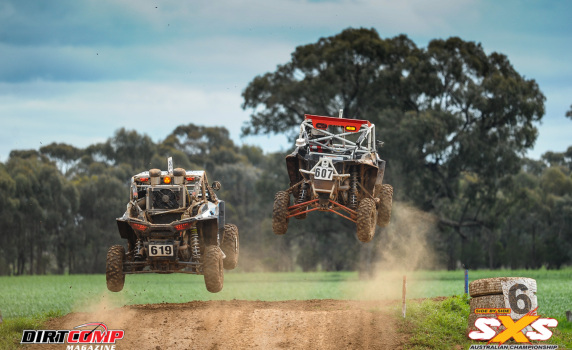 Crocker and Weissel going toe to toe in their Polaris RZR Turbo SXS's