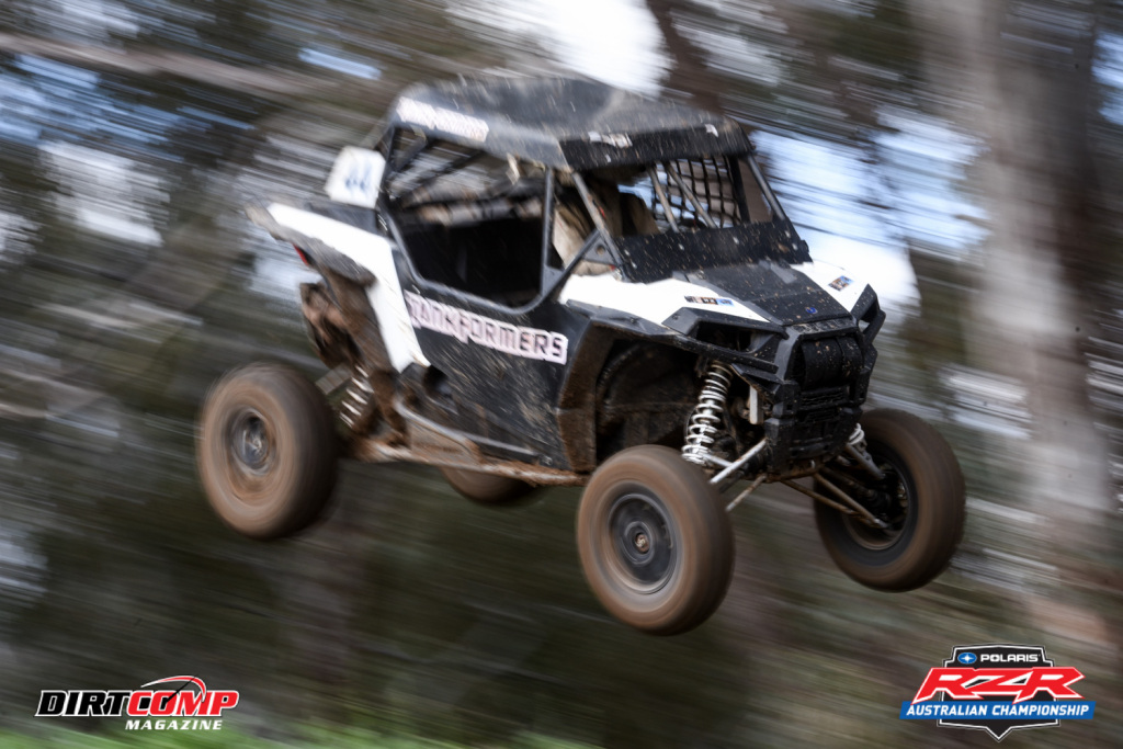 Tom Evans flying high at Albury in the Tankformers Polaris RZR 1000