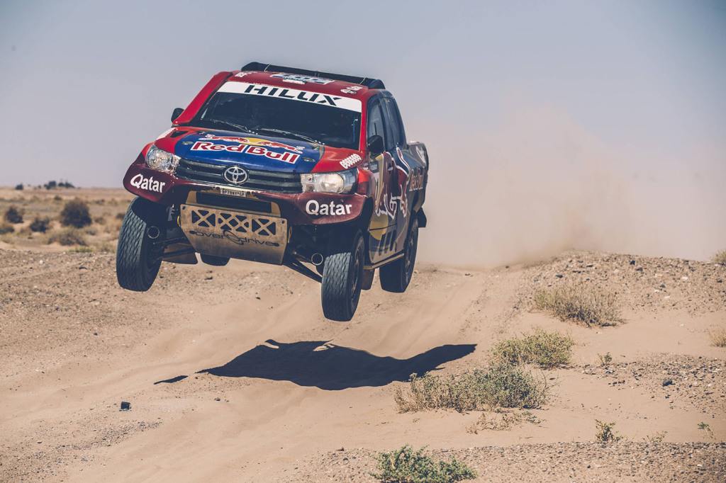 Nasser Al-Attiyah from Gazoo Racing South Africa performs during a test run in Erfoud, Morocco // Flavien Duhamel/Red Bull Content Pool