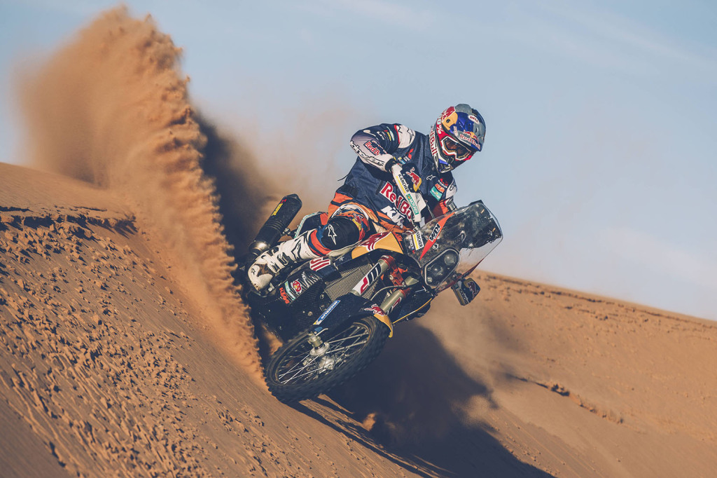 Toby Price from Red Bull KTM Factory Team performs during a test run in Erfoud, Morocco in September // Flavien Duhamel/Red Bull Content Pool