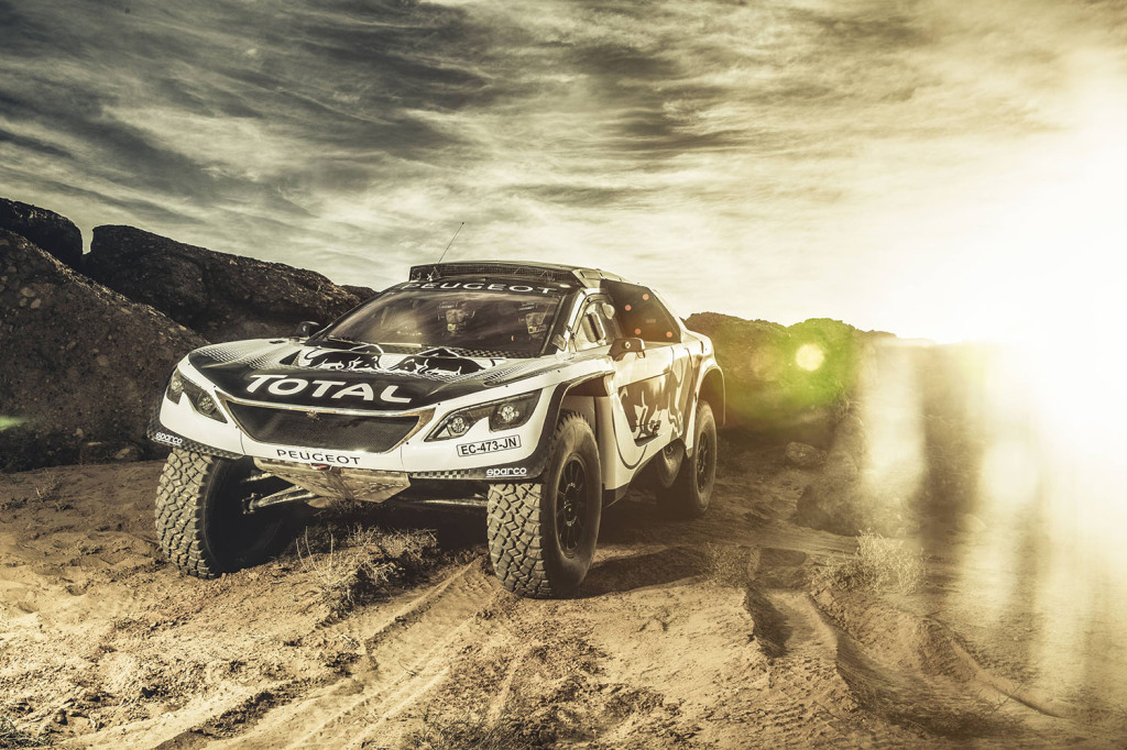 Stephane Peterhansel and Jean-Paul Cottret from Team Peugeot Total with the new Peugeot 3008 DKR // Flavien Duhamel/Red Bull Content Pool