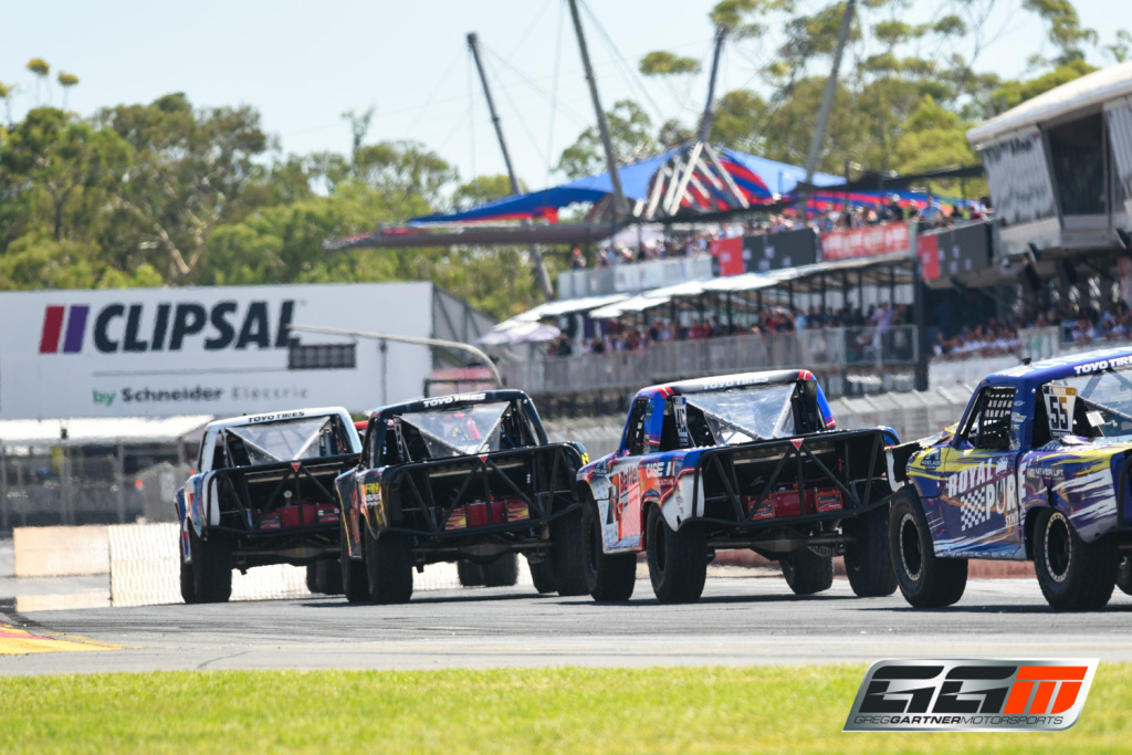 Gartner drifting on to the main straight at Clipsal during Race 1 of the Stadium Super Trucks
