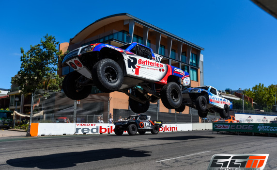 Gartner launching out of turn 7 at the Clipsal 500 in the R&J Batteries Stadium Super Truck