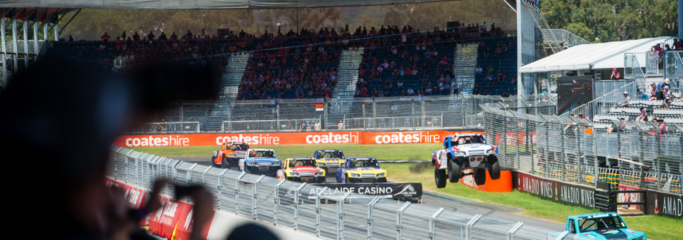 Despite the Adelaide heat, the crowd turned out in force when the Stadium Super Trucks hit the track.