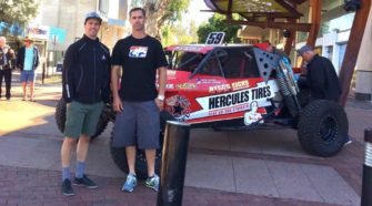 Luke Ayers and Harley Letner with the Hercules Tatum at the Finke Media Launch