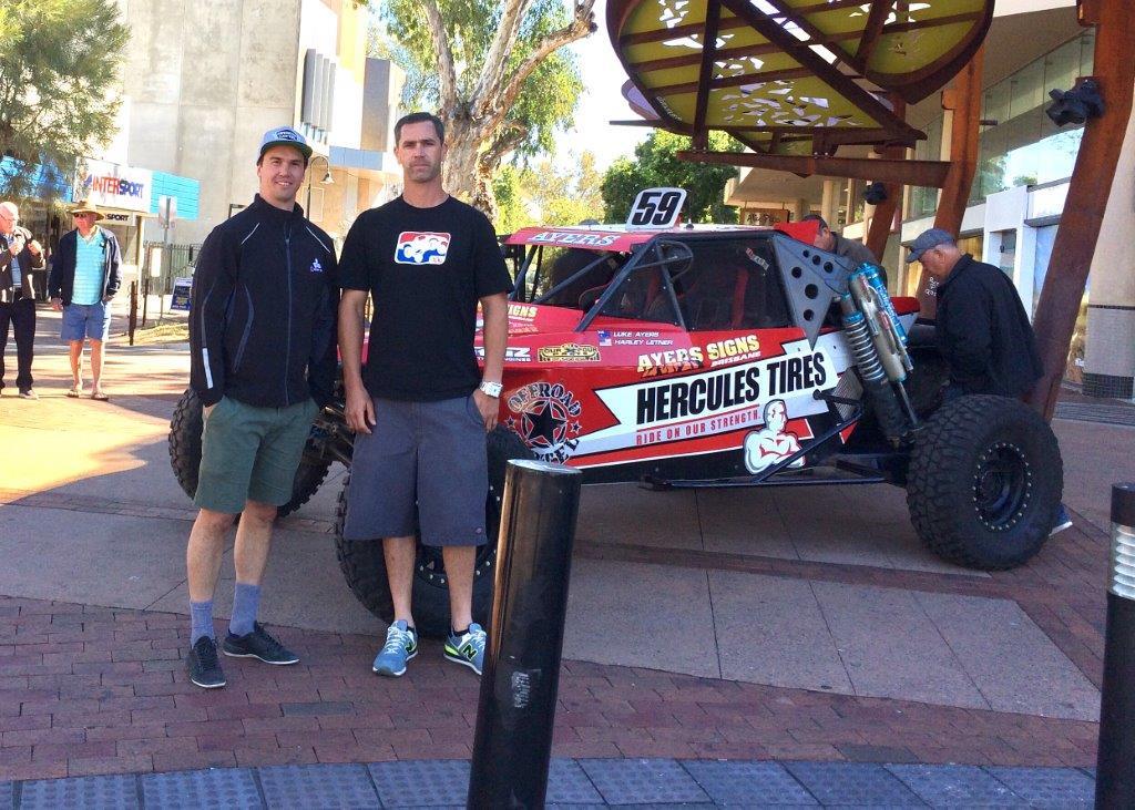 Luke Ayers and Harley Letner with the Hercules Tatum at the Finke Media Launch