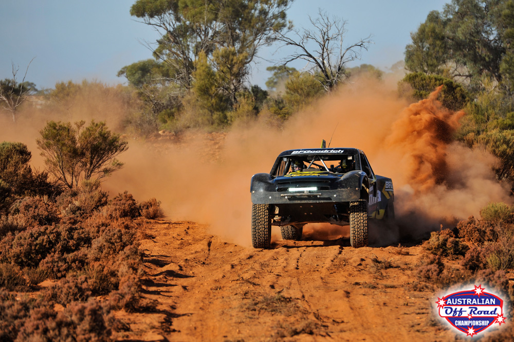 Robinson on his way to victory at Kalgoorlie in his OBR Tonka Trophy Truck
