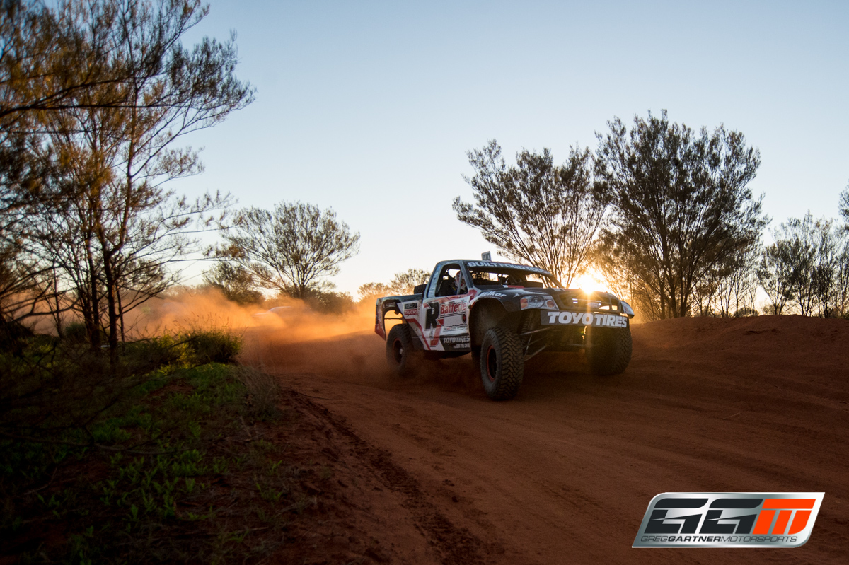 Gartner and Jennings blasting their way to Finke at Sunrise in the Ford F-150 Trophy Truck